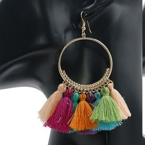 Jewelry - NEW boho tassel hoop earrings